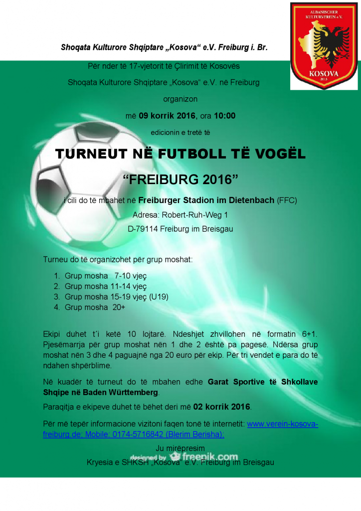 Turne ne Futboll 2016_Njoftim_SHKSH_Kosova_Freiburg